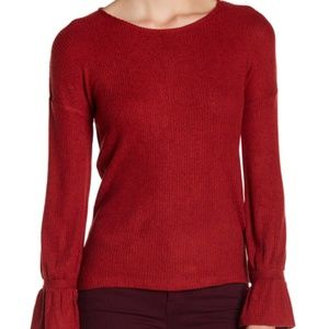 Lucky Brand Red Bell Sleeve Tie Sweater